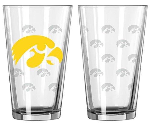 Iowa Hawkeyes Satin Etch Pint Glass Set by Boelter Brands ()