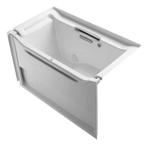 Bubblemassage Bathtub - KOHLER K-1914-GLB-0 Elevance BubbleMassage Rising Wall Bath with Included Left-Hand Drain and Installed Grab Bar, White