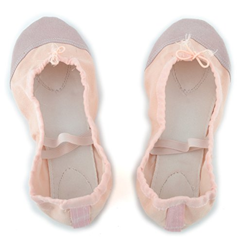 uxcell Soft Canvas Lady Elastic Cross Bands Flat Ballet Dancing Shoes Size 41 Pair Apricot Apricot SuAtFO