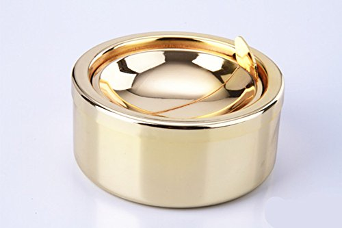 Kinger_Home Stainless Steel Ashtray with lid, Cigarette Ashtray for Indoor or Outdoor Use, Ash Holder for Smokers, Desktop Smoking Ash Tray for Home office Decoration (Gold)