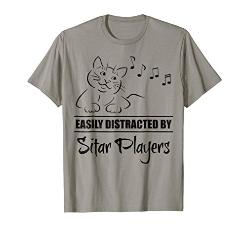 Curious Cat Easily Distracted by Sitar Players Music Notes T-Shirt