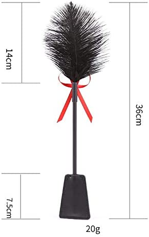 SYsweetheart Black Leather Ostrich Feather Rhinestone Bow Tease Hand Beat 14In