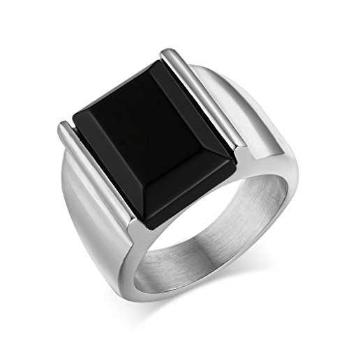 AMDXD Jewelry Stainless Steel Men Ring Classic Square Black Cubic Zirconia Silver Signet Ring,Size 11