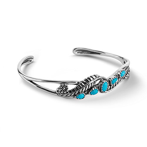 American West Sterling Silver Sleeping Beauty Turquoise Gemstone Leaf Rosette Cuff Bracelet Size Small ()