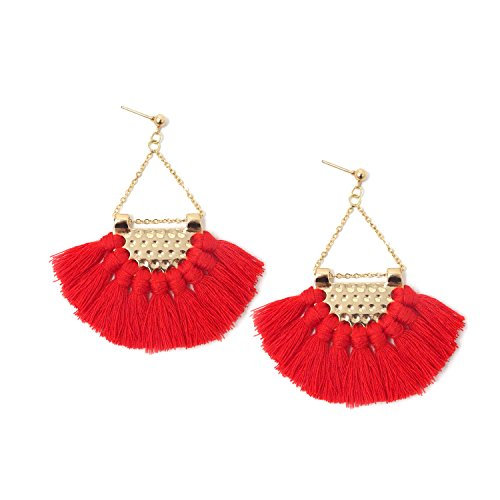 Honbay Red Bohemian Fan Shape Tassel Earrings Fashion Dangle Drop Earrings for Women and Girls (Shape Earrings Fan)