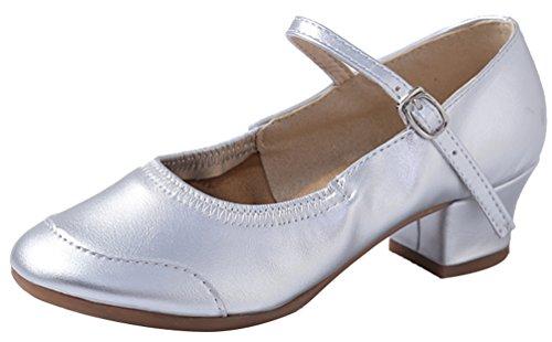 Abby 315 Womens Ballroom Party Snug Jazz Closed Toe PU Low Heel Mary Jane Square Modern Dance Shoes Silvery(one Sole) gQ3bMC