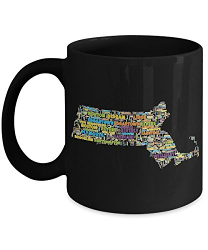 Massachusetts Cities In The Shape Of The State Black 11 oz Coffee - City West Westfield