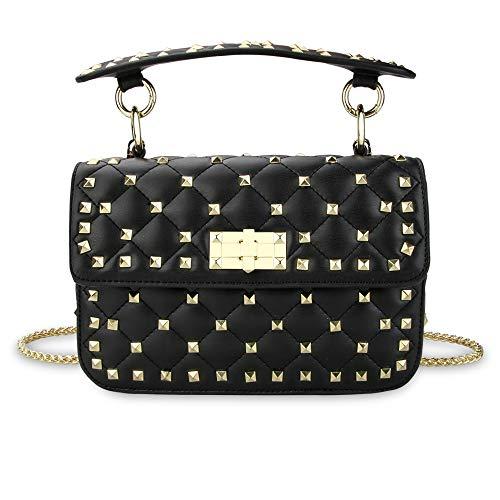 Olyphy Leather Quilted Shoulder Bag for Women,Rivets Chain Purse,Designer Top Handle Lingge Handbag (black)