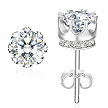 Earrings, Mothers Day Gift with Exquisite Package 925 Sterling Silver Stud Earrings J.Rosée Fine Jewelry for Women Princess Crown Best Gift for Mom Wife Girlfriend with Exquisite Package