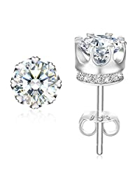 "Earrings, Valentine's Day Gift with Exquisite Package 925 Sterling Silver Stud Earrings with 5A CZ J.Rosée Fine Jewelry for Women ""Princess Crown"""