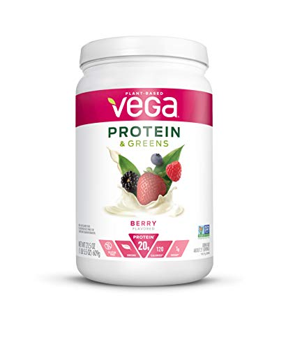 Vega Protein & Greens Berry (21 Servings, 21.5 Ounce) - Plant Based Protein Powder, Keto-Friendly, Gluten Free, Non Dairy, Vegan, Non Soy, Non GMO - (Packaging may vary) (Best Green Drink Powder 2019)