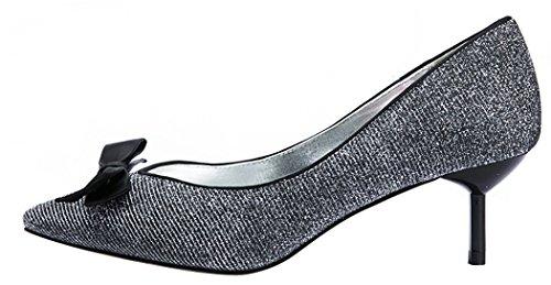 Laikakingdom Sexy Leopard Pointed Toe Bowknot Thin Heel Shoes(7 B(W) US, Black)