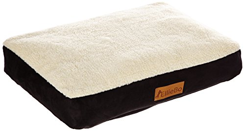 Ellie-Bo Dog Bed with Faux Suede and Sheepskin Topping for Dog Cage/ Crate Medium 30-inch Black 1