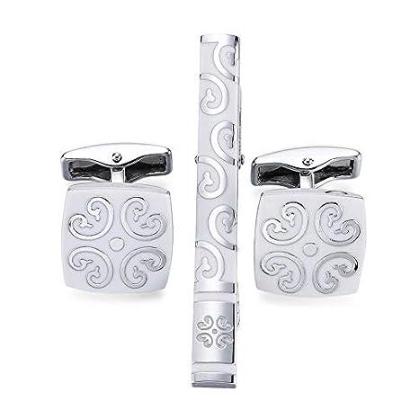 Gemelos de patrón de Clip de Corbata de Plata Cuadrado Blanco ...