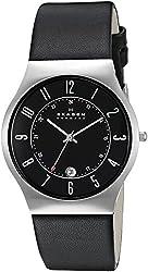 Skagen Black Leather and Steel Watch