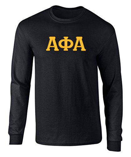 Fashion Greek Alpha Phi Alpha Twill Letter Long Sleeve Tee Black Gold Large