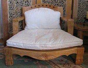 Raja Royal Meditation Chair in Natural Finish with White Cushions (Rattan Meditation Chair)