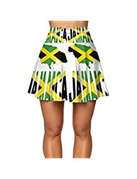 CFX-HY7 Women's Casual Skirt, Jamaica Flag with Jamaican Map Summer Skirts for Teen Or Ladies