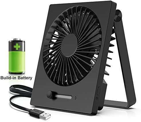 KopBeau Battery Operated Fan, Personal Desk Portable USB Rechargeable Table Cooling Folding Electric Fan, Stepless Speeds, 180 Degree Adjustment, Slim Design for Office Outdoor Traveling, Black