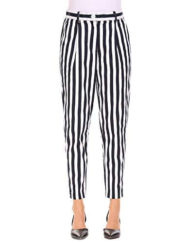 keliqq Women's Casual Striped Skinny Pants Business Harem Pants by keliqq