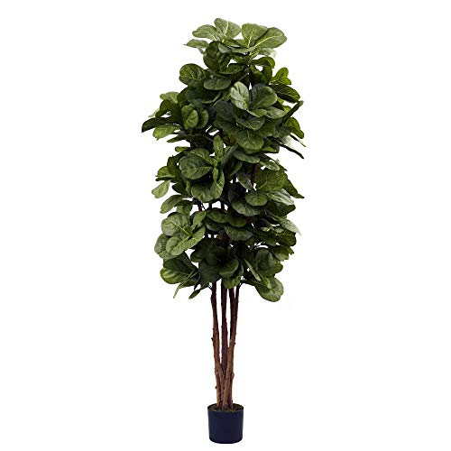 Nearly Natural 5346 Fiddle Leaf Fig Tree, 6-Feet, - Green Tree Snake