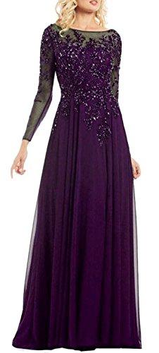 's Hals Violett Damen Braut Rund Aufkleber Kleider Chiffon emmani lang Mutter 0Cq6px6P