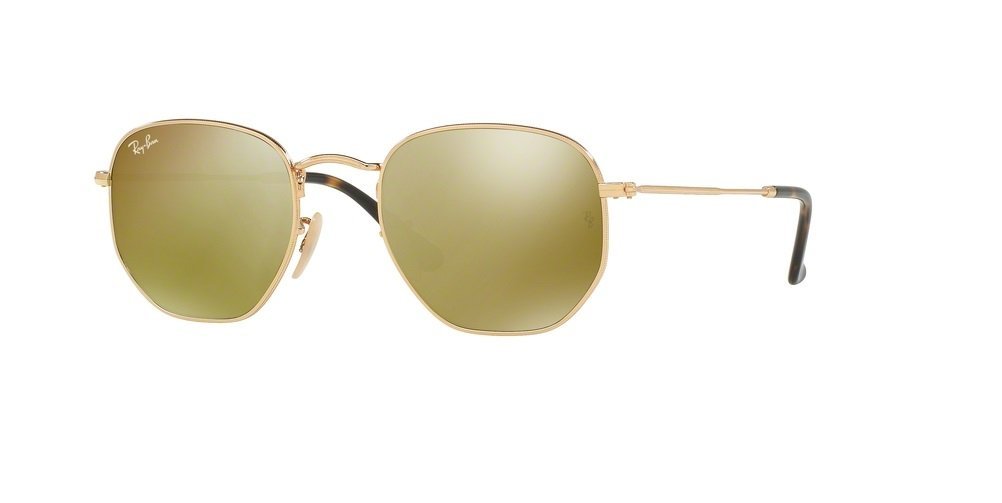 Ray-Ban RB3548N HEXAGONAL 001/93 54M Gold/Gold Flash Sunglasses For Men For Women