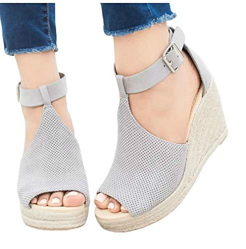 - LAICIGO Womens Espadrille High Platform Wedge Sandals Open Peep Toe Ankle Strap Buckle Shoes