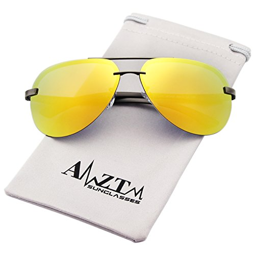 AMZTM Classic Fashion Aviator Polarized Women and Men Sunglasses Metal Frame Colorful Mirrored Reflective REVO Lens Driving Glasses 100% UV400 Protection (Grey Frame Yellow Lens, - Yellow Aviators Mirrored