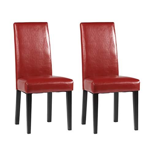 Milan Star Straight Back Parson Chair, Set of 2, Red (Merlot Dining Room Set)