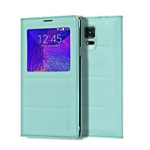 Galaxy Note 4 Case, Galaxy Note 4 S View Case, Huijukon Premium Leather S-View Flip Cover Folio Case[Clear View Window] for Samsung Galaxy Note 4 (Teal)