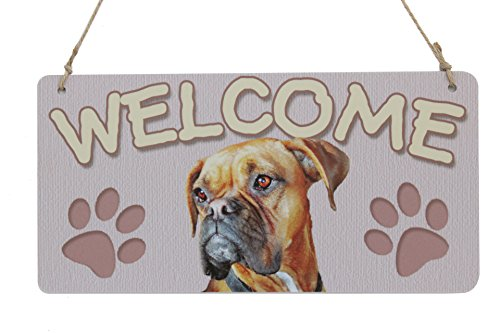 Dog Breed Sign Boxer Welcome Sign Plaque With Two Dog Footprints (5