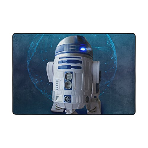 Area Rugs Custom Checkered Non-slip Pad Cover Doormat 72 x 48 inch Robot R2d2 Model Toys Planet Pave Carpet Pattern Modern by -