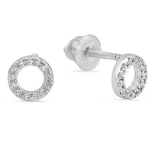Dazzlingrock Collection 0.10 Carat (ctw) 10K Round Cut White Diamond Ladies Circle Shape Stud Earrings 1/3 CT, White ()