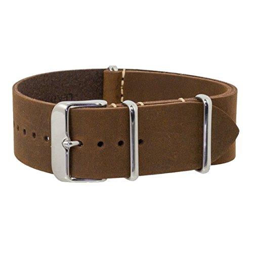 Benchmark Straps 24mm Dark Brown Oiled Leather NATO Watchband