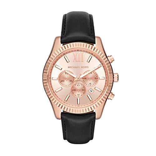 Michael Kors Men s Lexington Rose Goldtone and Black Leather Chronograph Watch