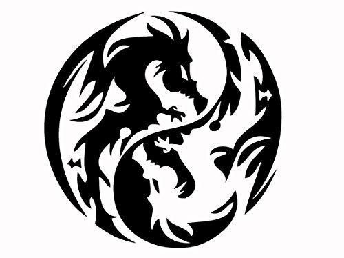 Dragon Yin Yang - Tribal Decal Vinyl Removable Decorative Sticker for Wall, Car, Ipad, Macbook, Laptop, Bike, Helmet, Small Appliances, Music Instruments, Motorcycle, Suitcase [a] (10'', black) by Leon Online Box