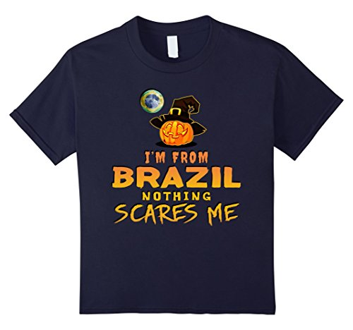 Kids I'm From Brazil Nothing Scares Me Tee 12 Navy
