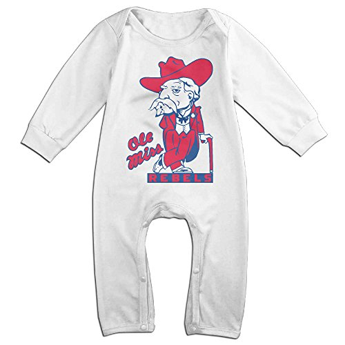 Dara University Of Mississippi Colonel Boy's & Girl's Long Sleeve Romper Bodysuit Outfits White 18 (Personalized Water Bottles No Minimum)