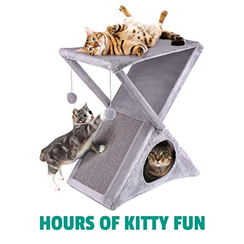 Ruff 'n Ruffus Foldable Cat Tower Tree + Free Bonus Handheld Chase Toy + 6 Cat Toys | Plush Folding House with Hammock | Condo | Scratching Pad | & Play Balls | for Kittens | Medium & Large Cats 8
