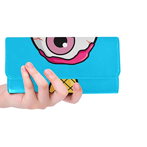 Unique Custom Ice Cream Cone Pink Eyeball Women Trifold Wallet Long Purse Credit Card Holder Case Handbag