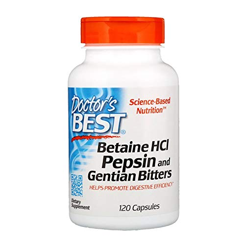 Doctors Best | Betaína HCL pepsina y genciana amarga | 120 cápsulas | sin gluten