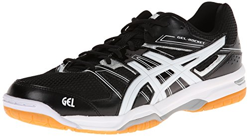 ASICS Men's Gel-Rocket 7-M, Black/White/Silver, 15 M US