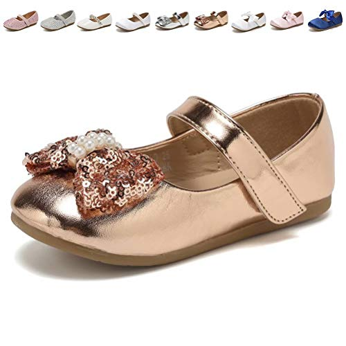 CIOR Toddler Girls Ballet Flats Shoes Ballerina Princess Dress Bowknot Jane Mary Wedding Party,VGZA3,Rose Gold,21 ()