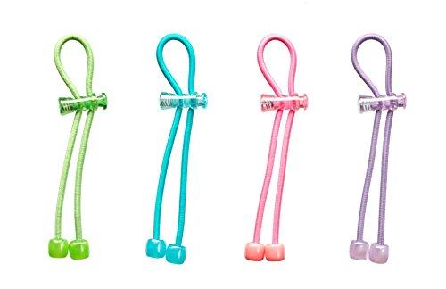 Lime Crystal Bracelet - Pulleez Set of 4 Sliding Ponytail Holders Elastic Hair Tie Bracelet (Sky/Lime/Lavender/Pink)