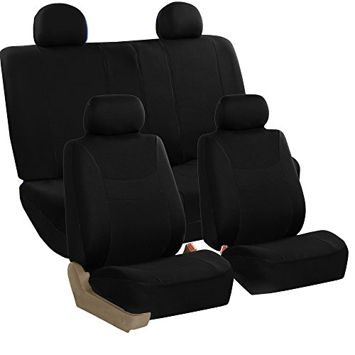 (FH Group FB038114 Stylish Cloth Full Set Car Seat Covers, Black/Black- Fit Most Car, Truck, SUV Van)