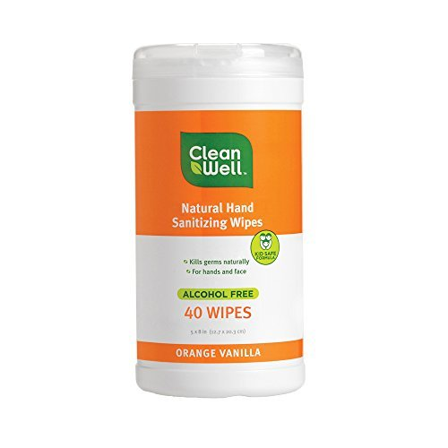 Natural Sanitizing Wipes Orange Vanilla Scent, Alcohol Free, 40 Wipes (5 x 8 in) by Cleanwell