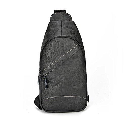 Honda Leather Genuine Leather Backpack Outdoor Multipurpose Chest Crossbody Bag Men Bag Black