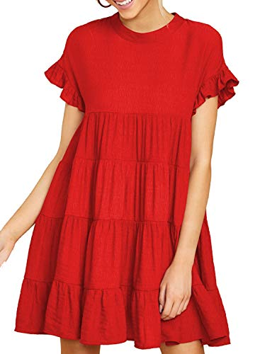 MIHOLL Women's Short Sleeve Dress Ruffle Cute Tiered Mini Loose Dress (Large, Red)