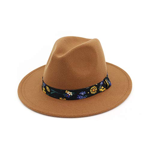 Winter Hat for Women Woolen Wide Brim Felt Fedora Trilby Flower Braid Gangster Men's Panama Church Jazz Hat -